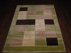 RUGS HAND CARVED GREEN/BROWN 120X170CM APROX 6FTX4FT SUPER QUALITY BLOCKS